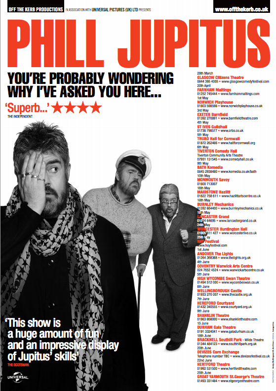 phill jupitus 2013 tour poster